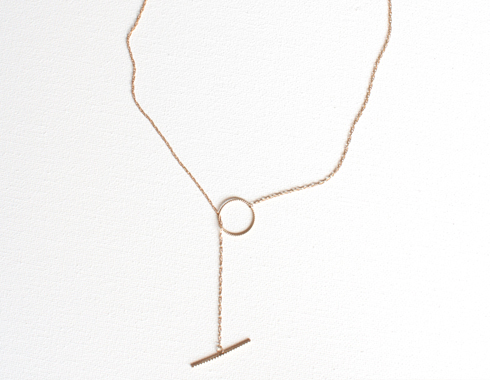 Ring Lariat 14K Gold Necklace