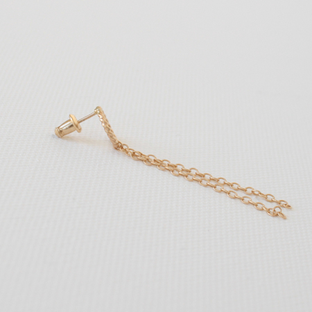 Mini Hoop with Chains 14K Gold Earrings