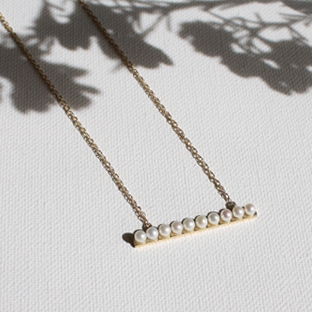 Pearl Line 14K Gold Necklace