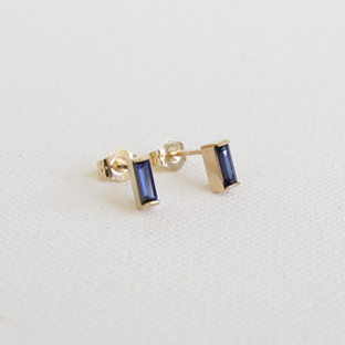 Baguette Sapphire 14K Gold Earrings