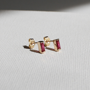 Baguette Ruby 14K Gold Earrings