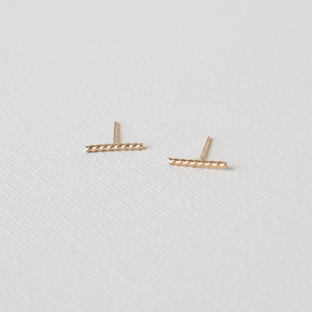 Twisted Mini Bar 14K Gold Earrings