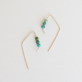 Rhombus with Turquoise 14K Gold Earrings