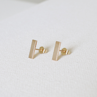 14K Gold Rectangular Earrings (Long)