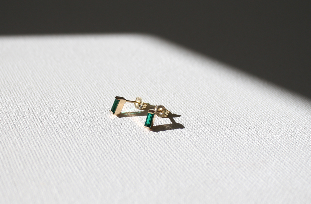 Baguette Emerald 14K Gold Earrings