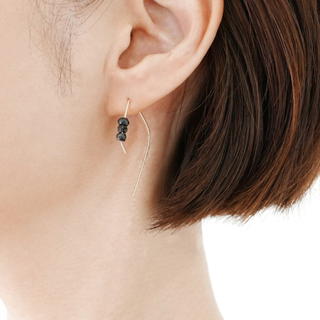Rhombus with Black Spinel 14K Gold Earrings