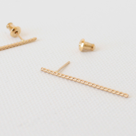 Twisted Long Bar 14K Gold Earrings