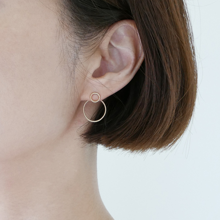 Double Hoop 14K Gold Ear Jacket Earrings