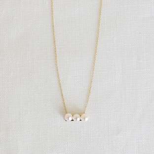 3 White Pearls Line 14K Gold Necklace