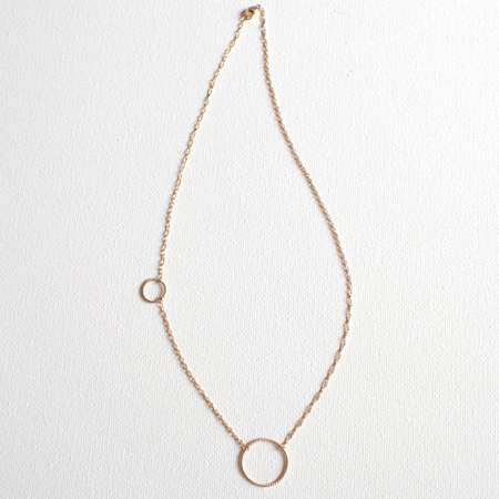 Double Ring 14K Gold Necklace