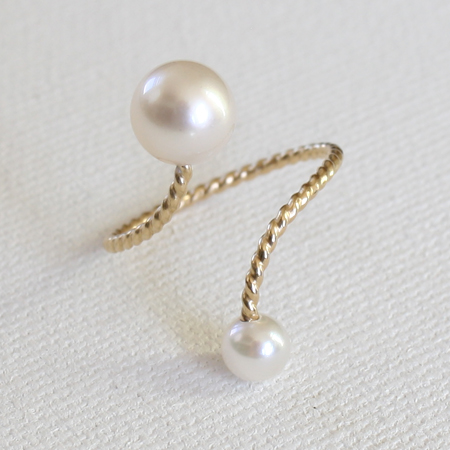 White Akoya Pearl 14K Gold Ring